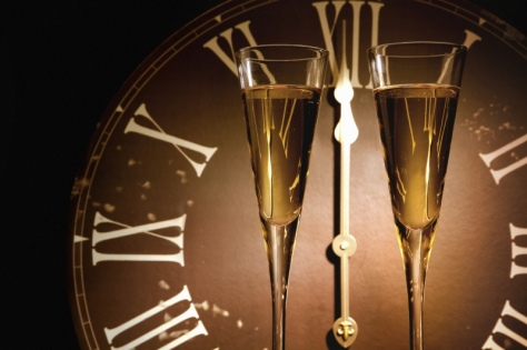 New Years Eve, champagne glass, clocks, partying, resolutions